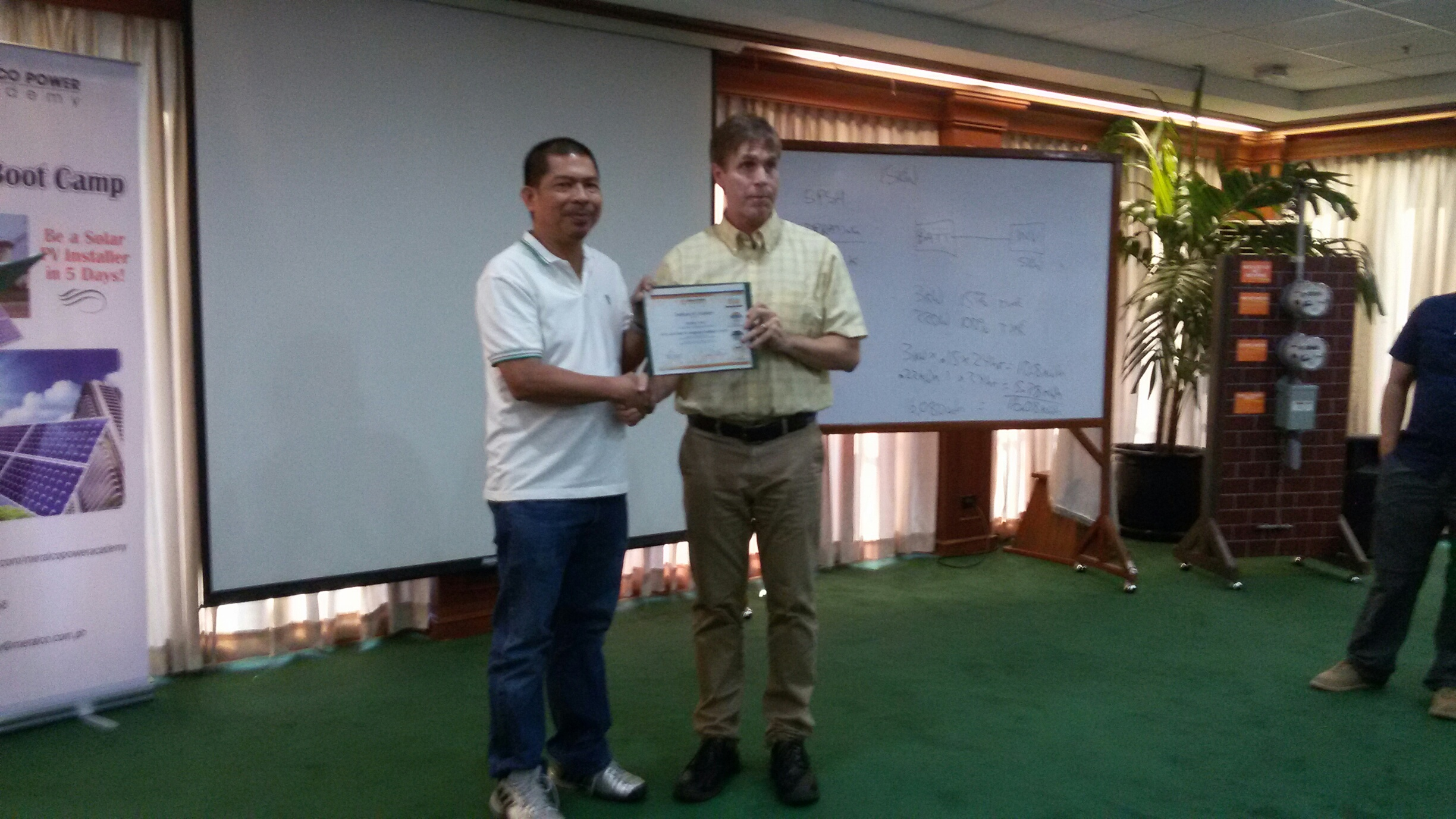Vic Rey accepted the certification for Advance Professional PV Course
